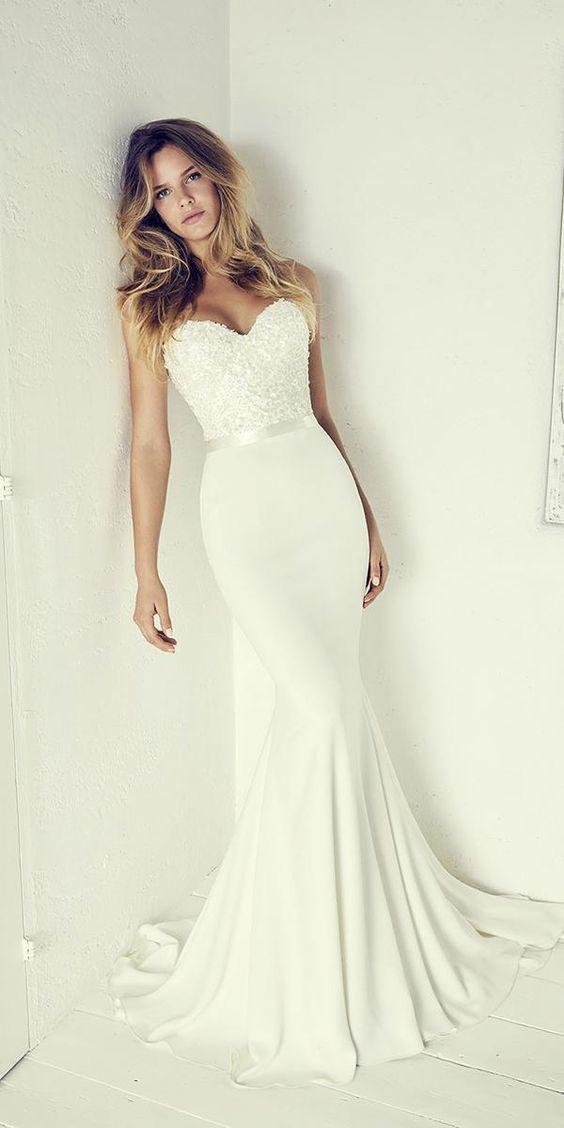 Trägerlose Brautkleider, Meerjungfrau Brautkleid mit Applikationen