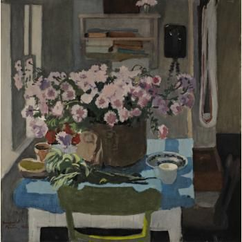 """Chrysanthemums and Sage,"" Fairfield Porter, oil on canvas, Frances Lehman Loeb Art Center."