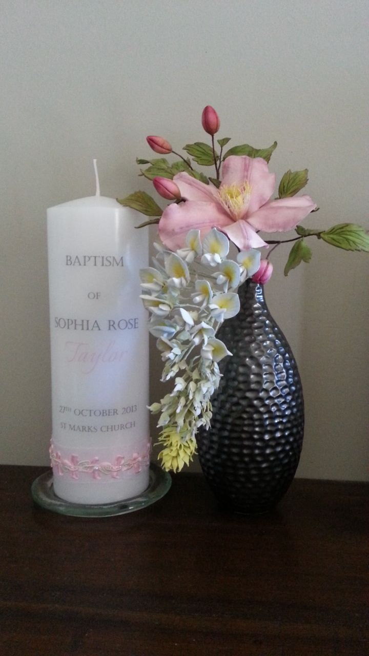 Classic Baptism Candle with Pink Organza & Decorative ribbon combination.