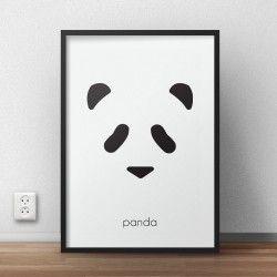 Plakat dla dzieci z głową misia pandy pobudzający wyobraźnię do powieszenia na ścianie