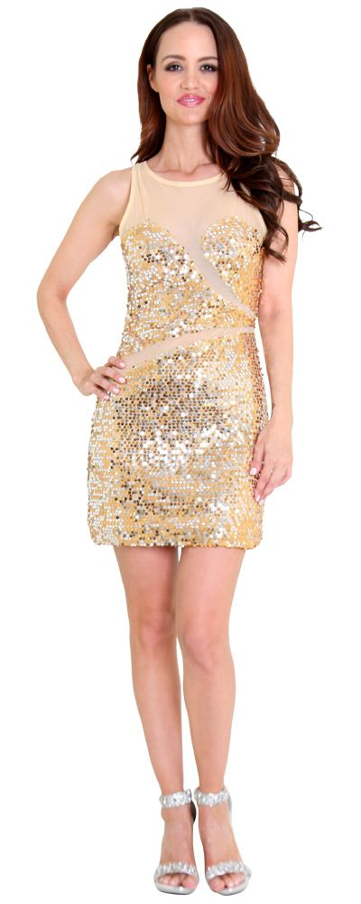 Gleam Girl Flawlessly tailored cocktail dress and gorgeous gold sequins capture the eye. Dazzling all over sequin and a large keyhole back define the perfectly placed mesh and create the ultimate silhouette. Crystal back closure.