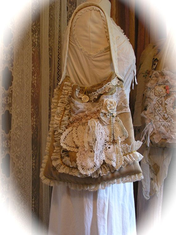 """Shabby Victorian Purse handmade fabric bag by TatteredDelicates, $115.00."" Only $115? Form a line, ladies."