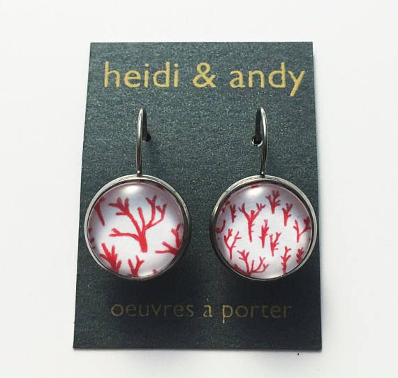 Hypoallergenic  Red Coral  Stainless Dangle Earrings