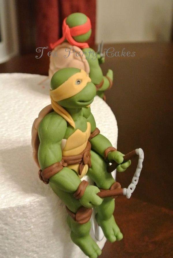 Donatello, Leonardo, Michelangelo, and Raphael look ready to party!