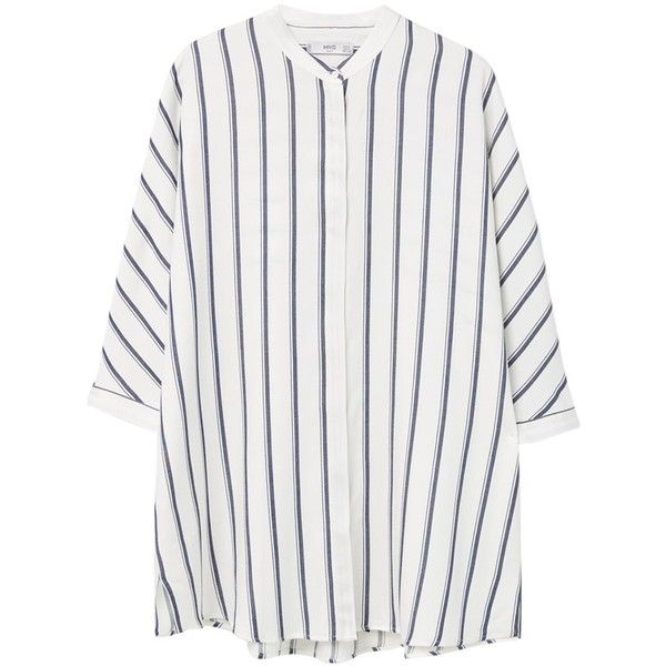 Mango Oversized Striped Shirt, Navy (£40) ❤ liked on Polyvore featuring tops, shirts, elbow sleeve shirt, navy striped shirt, white top, navy shirt e button shirt