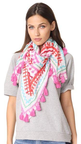 Kate Spade New York Квадратный шарф с отделкой тесьмой