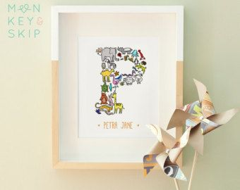 Animal Nursery Name Letter Prints Unique Baby by MonkeyAndSkip
