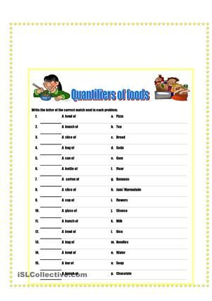 Quantifiers of food and drinks | Some-Any Much-Many None ...