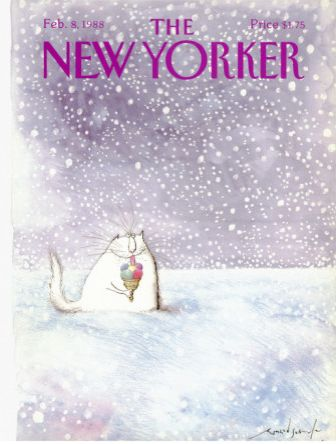 "Cats in Illustration: ""The New Yorker,"" February 8, 1988 by Ronald Searle"