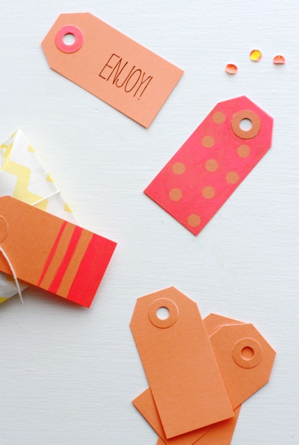 color block diy gift tags: Block Gift, Diy Gifts, Card, Neon Colors, Gift Tags, Christmas Gifts