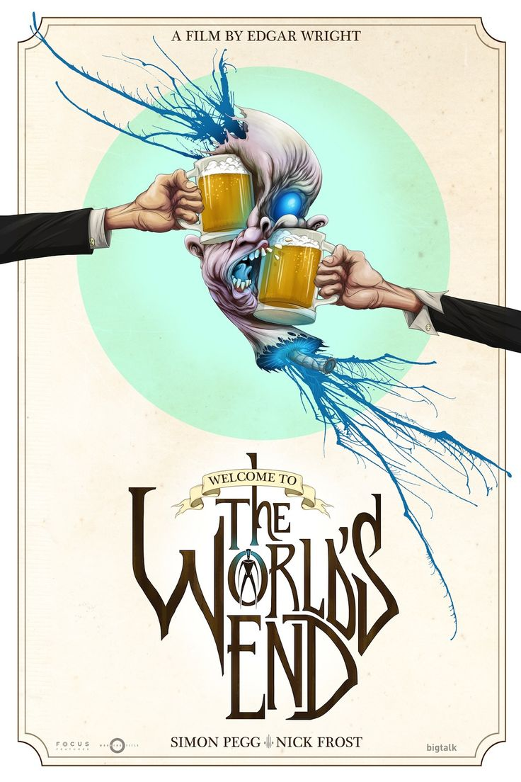 Exclusive premiere of Alex Pardee's smashing 'The World's End' poster; Edgar Wright's new movie which, by the way, you should go see. It's fantastic!