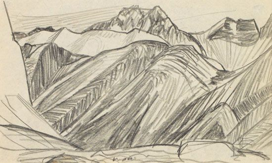 Lawren Harris - Study for Mountains East of Maligne Lake 4.5 x 7.75 Graphite on paper (1924)