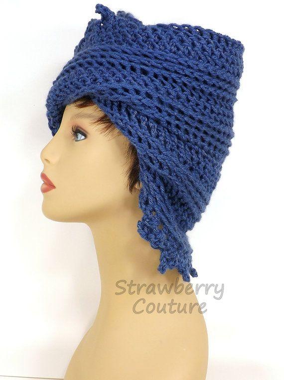 Dark Country Blue Crochet Hat Blue Womens Hat Trendy Crochet Beanie Hat Blue Hat LAUREN Blue Beanie Hat Women Strawberry Couture by strawberrycouture by #strawberrycouture on #Etsy