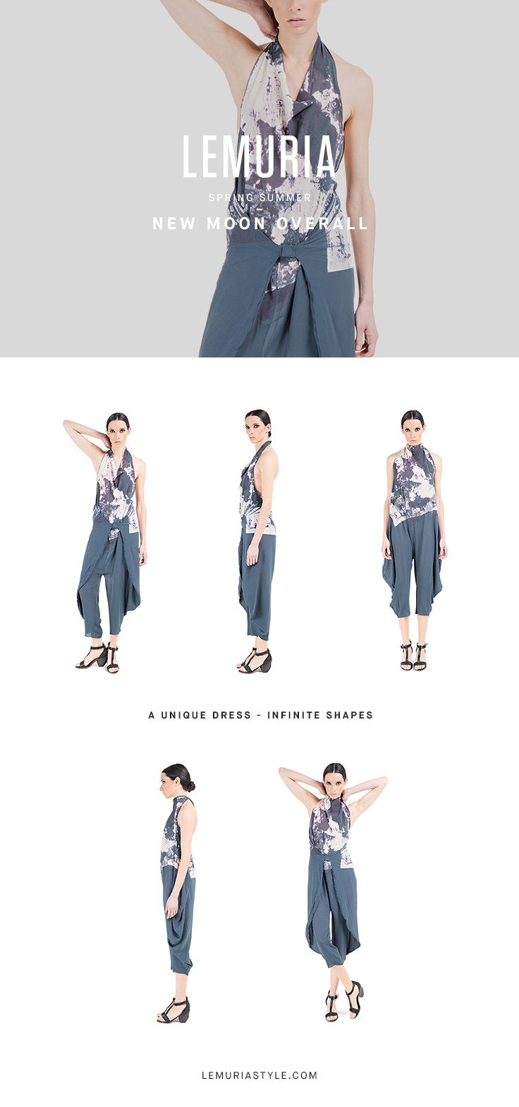 Overall in printed chiffon.