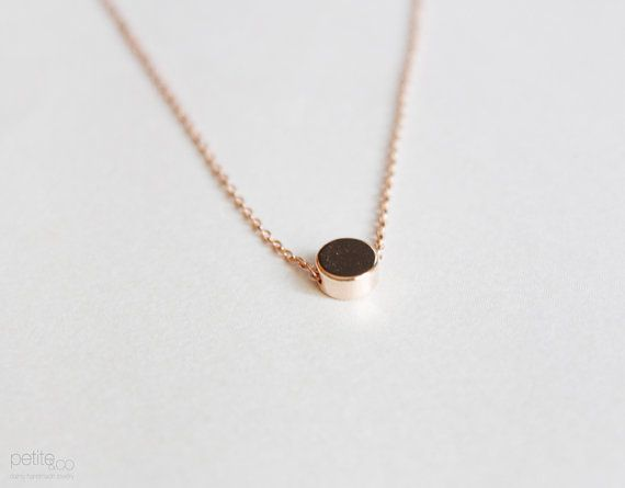 tiny rose gold dot necklace minimalist geometric by PetiteCo