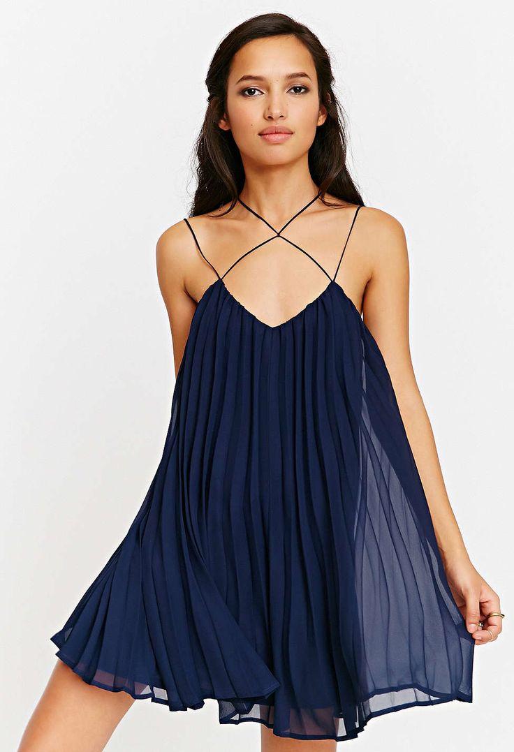 Vestido plisado con tirante-azul marino 14.57
