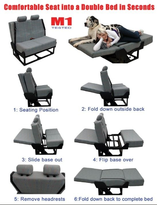 Crash Tested Foldaway Van Bed Seat c/w Seat Belts