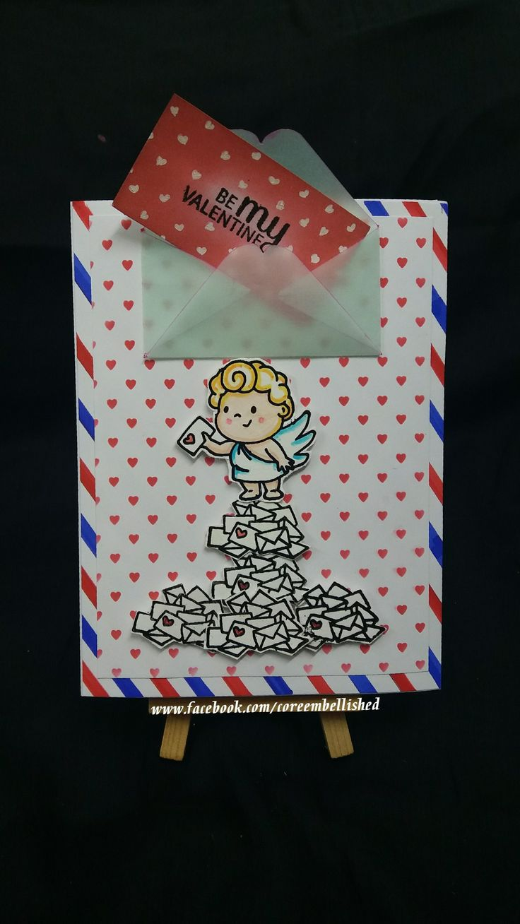 Created few #Valentine themed cards  from #clearlybesotted #clearstamps #handmade #cupid #loveangels #love #handmadecards #stamped cards #coreembellished  #clouds #shakercsrd #shakercupidcard #valentinecard #envelopecard