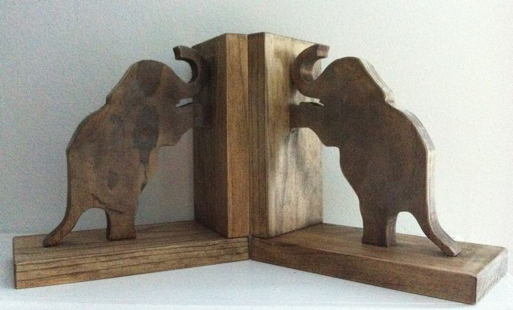Wooden Standing Elephants Bookends