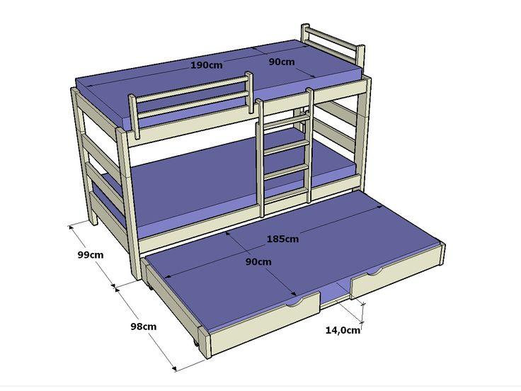 Litera con cama nido 3 en 1 casa ideas pinterest for Cama full medidas