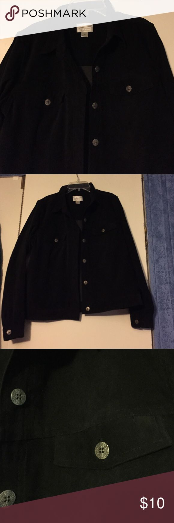 Black button down shirt/blazer Black with silver buttons. Suede like feel. I wore one time as a blazer. Christopher & Banks Jackets & Coats Blazers