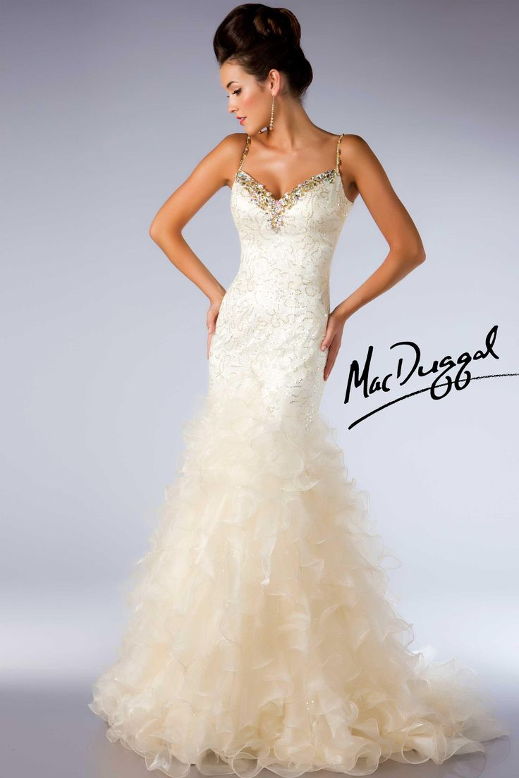 Ivory Ball Gown With Gold Accents Mac Duggal 64321h