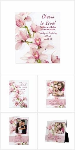Pink Cymbidium Orchid Wedding Invitation Set