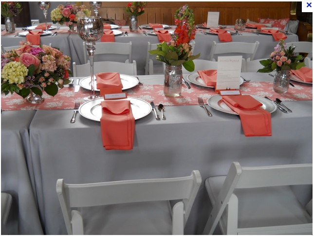 Coral And Grey Wedding Table With Mason Jars But Instead Of You Could Do Small Crystal Vases