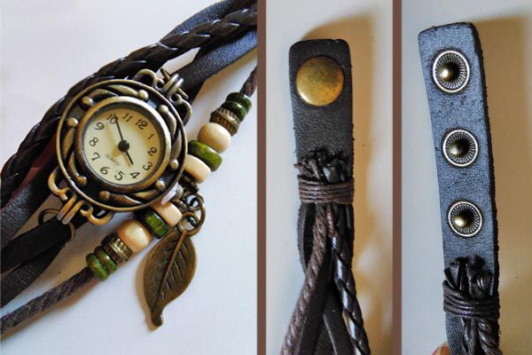 Orologio bracciale con cinturino in cuoio. Stile vintage con ciondolo a forma di piuma. Lunghezza cinturino: 24 cm  Diametro quadrante: 3cm  Colore: marrone - 12€+spese di spedizione
