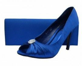 Bright Blue Peep Toe Ladies Shoes |  #eveningshoes # weddingshoes #ladiesshoes #heels