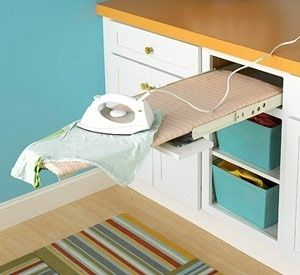 An ironing board that pulls out from a false drawer? AMAZING idea for a laundry or mud room. by juliette