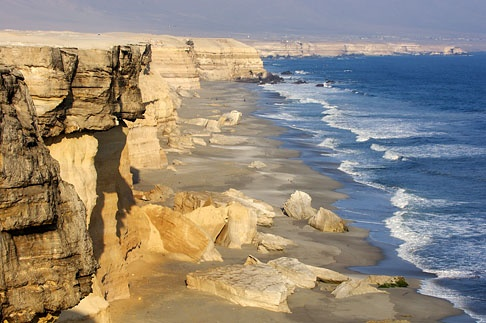 Coastal cliffs near city of Antofagasta. Chile.