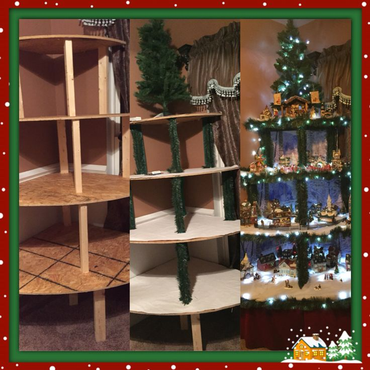Corner Christmas tree village display. Made with 4 removable stackable plywood platforms. 2x4s were used for support. Stapled with snow, garland and lights. Walmart holiday time village Backdrop added to back. Skirt stapled on red velvet scraps, topped with a mini tree.