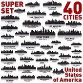 Ongelooflijke stad skyline set. Verenigde Staten van Amerika — Stockvector