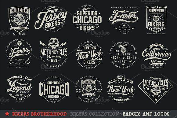 Bikers Brotherhood 6 Vector Logo Illustration Art Design Biker Logo