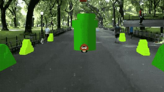 Watch this guy play Super Mario Bros. IRL in Central Park using HoloLens