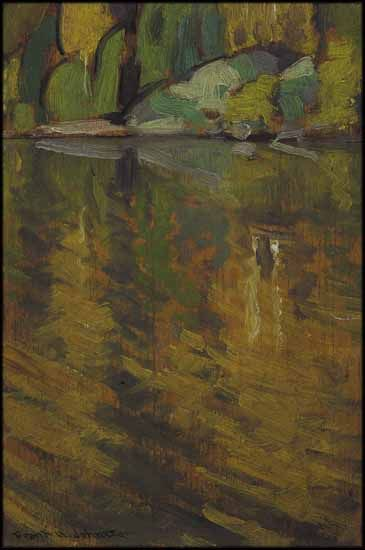 Frank Hans (Franz) Johnston ARCA CSPWC G7 OSA 1888 - 1949 Canadian Reflections, Agawa Canyon, Algoma oil on board circa 1919 8 1/2 x 5 3/4 in 21.6 x 14.6 cm