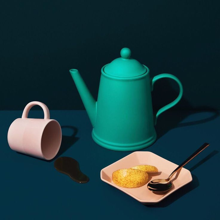 "Perk Pink Mug New 12oz. Intermix Dusty Pink App Plate 6"" Rush Slotted Serving Spoon Wayne Teapot Teal 46oz.  cb2takeover colorinspo ""Tea Time! — This serving combo is definitely a conversation starter. Spice up your next tea party with fun color palettes and statement pieces."" CB2 Color Expert, @adrienneraquel, is back on our gram sharing shades to get us through the winter. link in bio to shop the look — #colorinspo #cb2takeover"