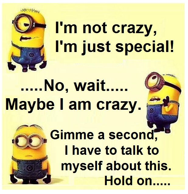 """Minions I M Not Crazy Quote: """"I'm Not Crazy, I'm Just Special... Wait, Let Me"""
