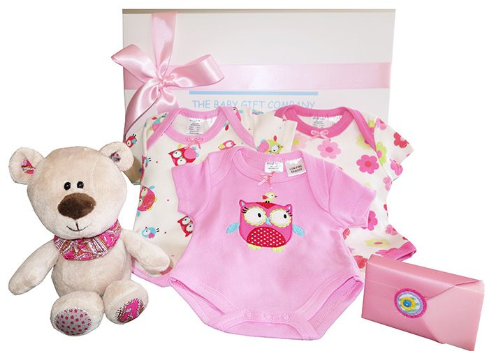 Our Little Angel baby hamper contains cotton baby essentials that new parents will love to dress their baby with, plus a cute fluffy teddy bear and mum pamper gift. Pretty Baby Girl gift Box.