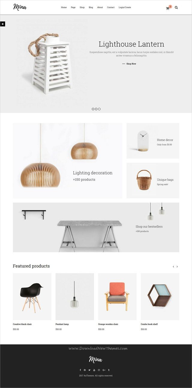 Mina is clean and modern design 7in1 responsive #HTML template for #furniture, handmade #shop eCommerce website with blog download now