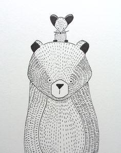 beer illustratie | bear illustration | kids room | kinderkamer www.kinderkamervintage.nl