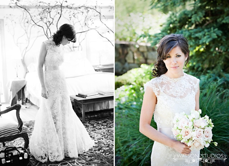 Wow, what a gorgeous dress. After searching across the internet and back, I found it is a Monique Lhuillier: Mountain Weddings, Lace Collar