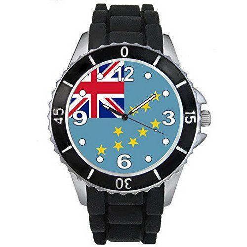 BMSC892 Tuvalu Flag Mens Ladies Unisex Black Jelly Silicone Quartz Wrist Watch >>> Visit the image link more details.