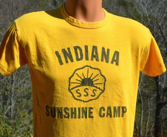 vintage 70s t-shirt indiana SUNSHINE CAMP summer tee by skippyhahavintage 70s t-shirt indiana SUNSHINE CAMP summer tee shirt Small Medium yellow gold