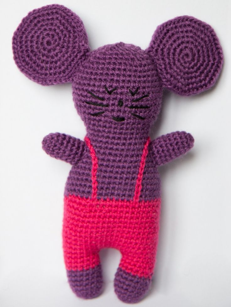 Doudou souris réalisé en crochet violet et rose : Jeux, peluches, doudous par lovit