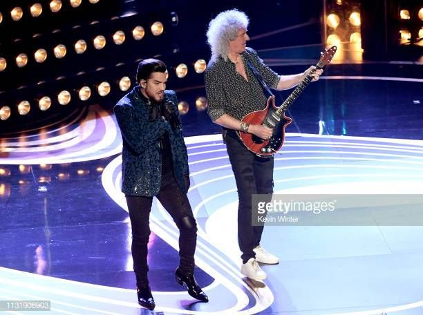Adam Lambert And Brian May Of Queen Perform Onstage During The 91st Annual Academy Awards At Dolby Theatre On February 24 2019 I Adam Lambert Brian May Onstage