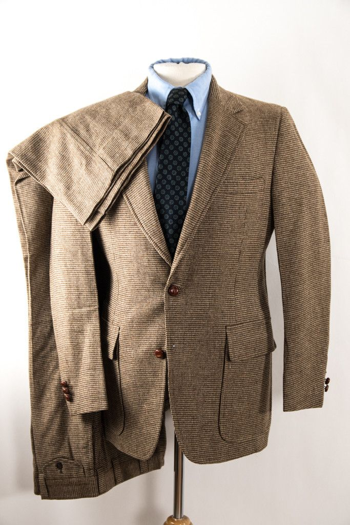 Tweed Suit Mens Vintage Brown Two Piece Suit 38R