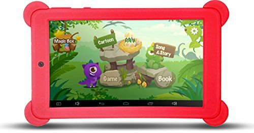 KOCASO 7 Inch Quad Core [Android 4.4 KitKat] Kid's HD Tablet PC- 8GB Storage W/ 32 Expandable Memory Micro USB/SD Card Slot 1024x600 Dual Camera WiFi G-Sensor 3G Dongle Google Play Apps- Red