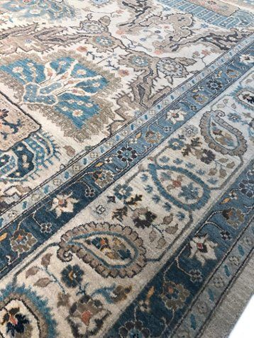 9 X12 Agra Hand Knotted Rug Ivory Aqua 5 075 00 In 2020 Hand Knotted Rugs Rugs Hand Knotted